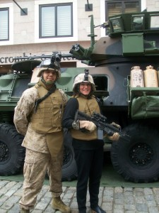 Happy and proud at a military event despite the weight of the gear they let me try out.  It is so heavy!